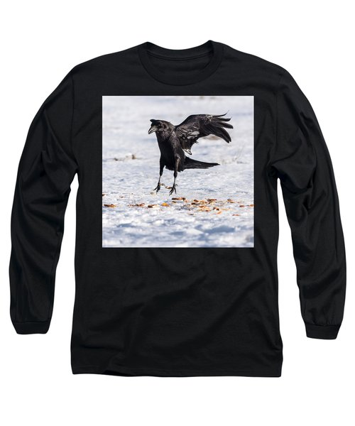 Hopping Mad Raven In The Snow Long Sleeve T-Shirt by John Brink