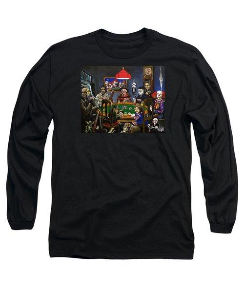 Horror Card Game Long Sleeve T-Shirt by Tom Carlton