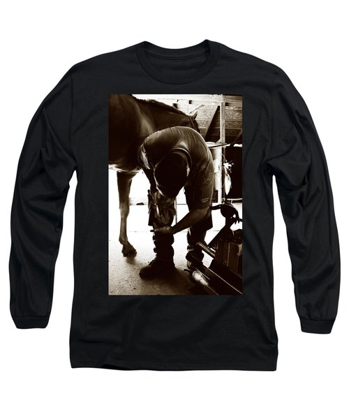 Horse And Farrier Long Sleeve T-Shirt by Angela Rath