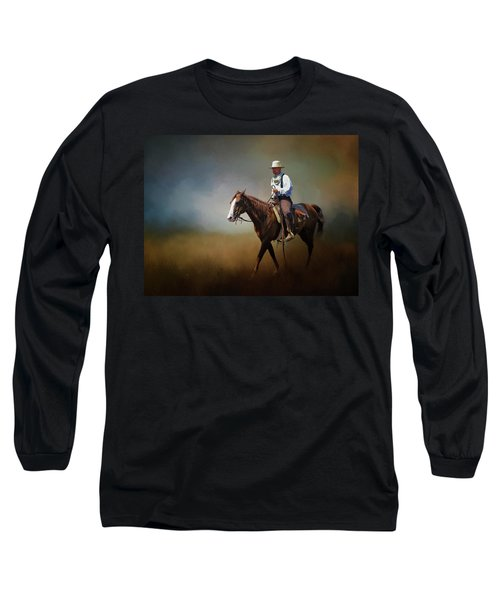 Long Sleeve T-Shirt featuring the photograph Horse Ride At The End Of Day by David and Carol Kelly