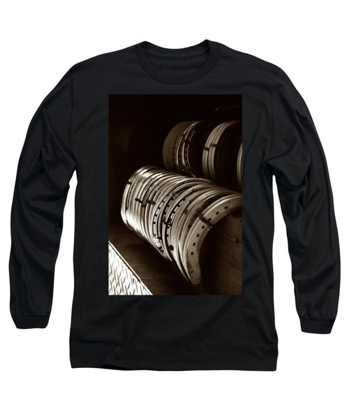 Horse Shoes In Sepia Long Sleeve T-Shirt by Angela Rath