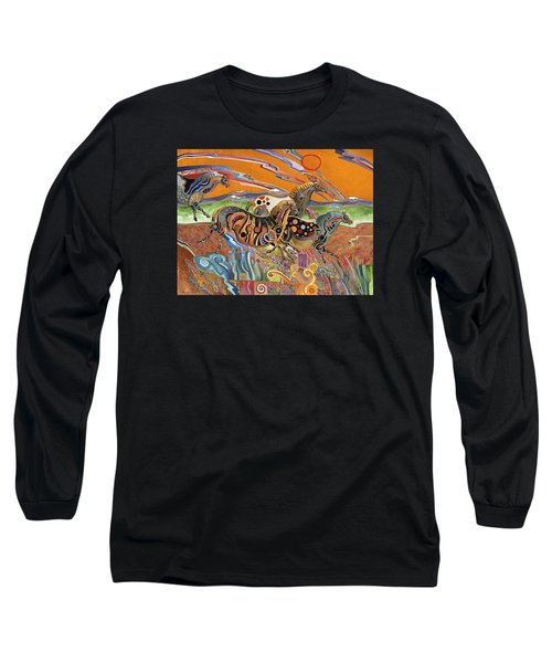 Long Sleeve T-Shirt featuring the painting Horses Of The Ardeche Valley France by Bob Coonts