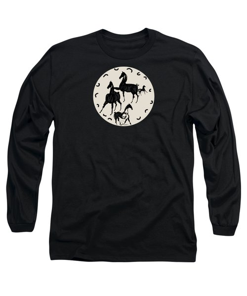 Horses Red Plate Long Sleeve T-Shirt by Mary Armstrong