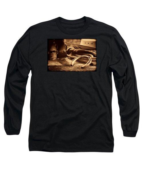 Horseshoe And Cowboy Gear Long Sleeve T-Shirt