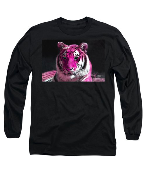 Hot Pink Tiger Long Sleeve T-Shirt by Rebecca Margraf
