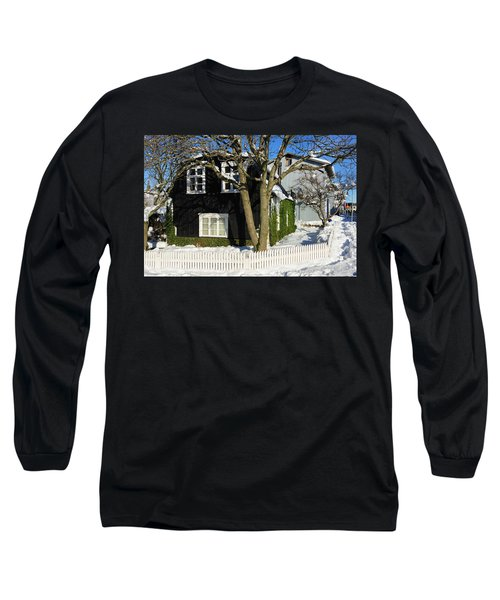 Long Sleeve T-Shirt featuring the photograph House In Reykjavik Iceland In Winter by Matthias Hauser