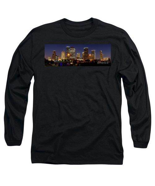Houston Skyline At Night Long Sleeve T-Shirt