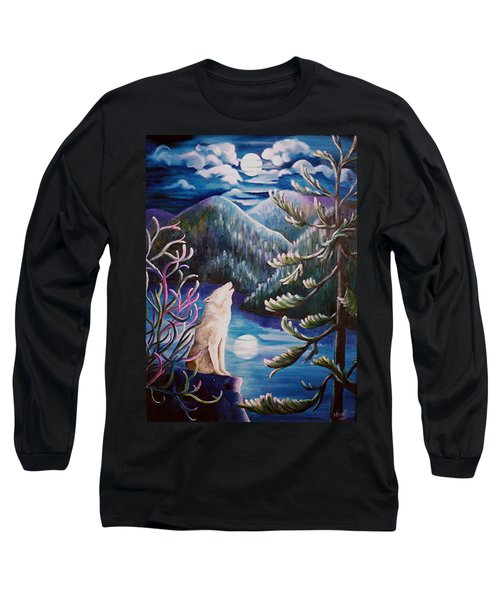 Long Sleeve T-Shirt featuring the painting Howlin' The Blues by Renate Nadi Wesley