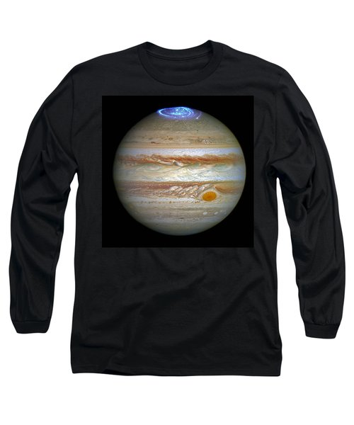 Long Sleeve T-Shirt featuring the photograph Hubble Captures Vivid Auroras In Jupiter's Atmosphere by Nasa