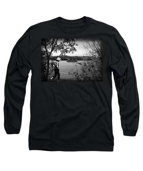 Huck Finn Type Walking On River  Long Sleeve T-Shirt