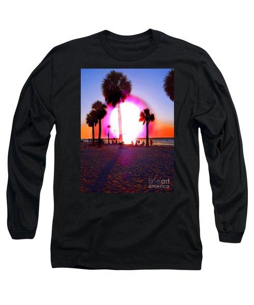 Huge Sun Pine Island Sunset  Long Sleeve T-Shirt by Expressionistart studio Priscilla Batzell