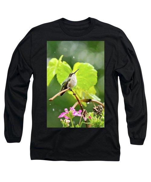 Hummingbird On Vine In The Rain Long Sleeve T-Shirt