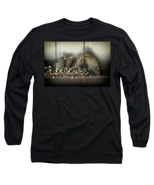 Long Sleeve T-Shirt featuring the photograph Hungry Chicks by Alan Toepfer