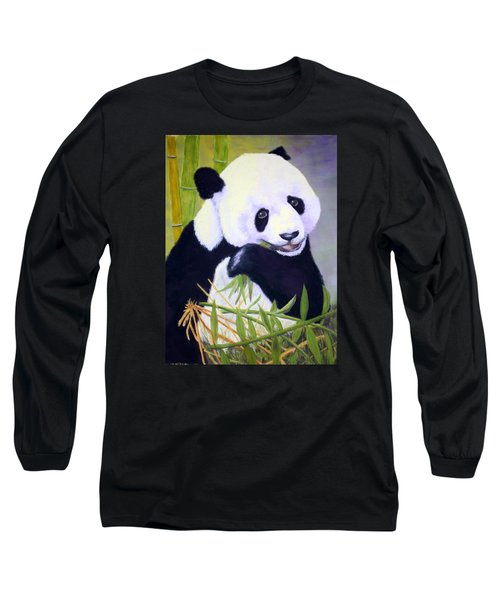 Long Sleeve T-Shirt featuring the painting Hungry Panda by Nancy Jolley