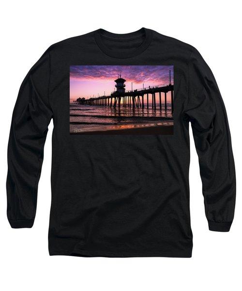 Huntington Pier At Sunset 2 Long Sleeve T-Shirt