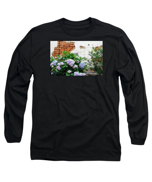 Hydrangea And Bricks Long Sleeve T-Shirt