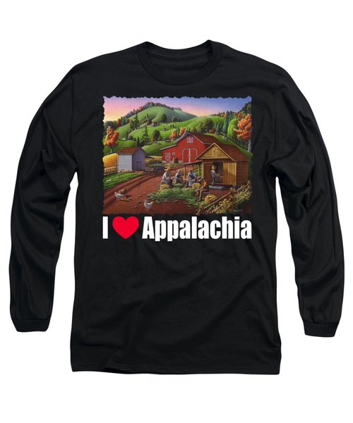 I Love Appalachia T Shirt - Farmers Shucking Corn And Storing In Corncrib 2 - Corn Crib Long Sleeve T-Shirt