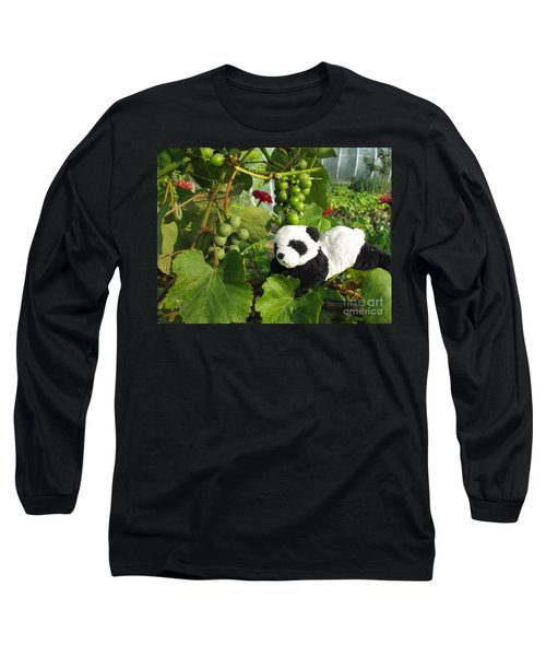 Long Sleeve T-Shirt featuring the photograph I Love Grapes Says The Panda by Ausra Huntington nee Paulauskaite