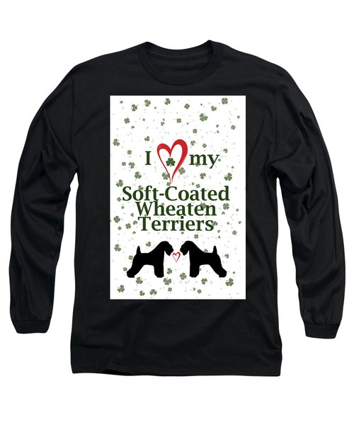 Long Sleeve T-Shirt featuring the digital art I Love My Soft Coated Wheaten Terriers by Rebecca Cozart