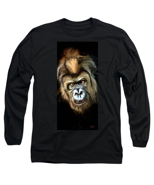 Long Sleeve T-Shirt featuring the painting Gorilla Portrait by James Shepherd