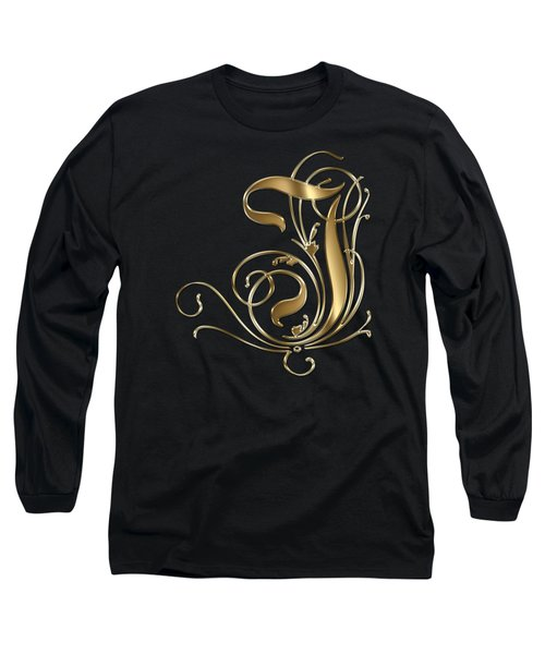 I Ornamental Letter Gold Typography Long Sleeve T-Shirt by Georgeta Blanaru