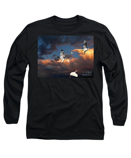 Long Sleeve T-Shirt featuring the photograph Ibis In Flight by Irma BACKELANT GALLERIES