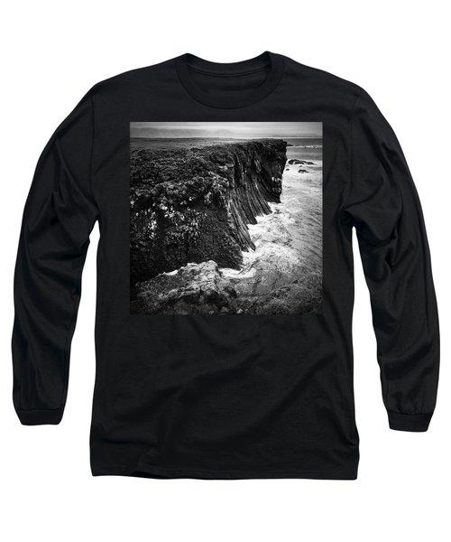 Iceland Coast Black And White Long Sleeve T-Shirt