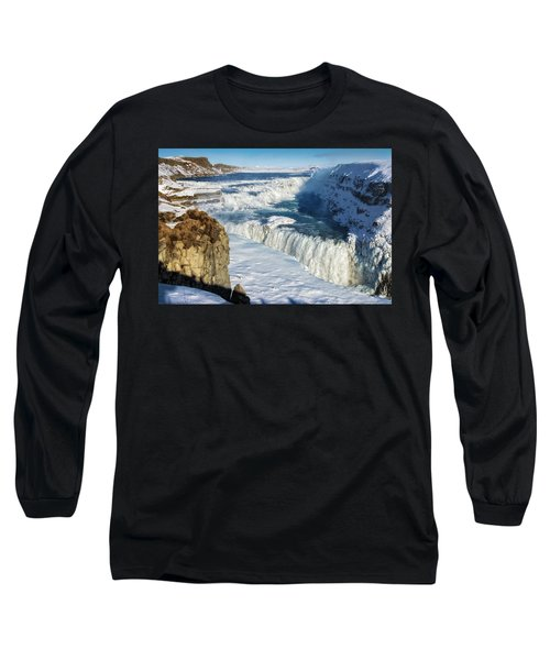 Long Sleeve T-Shirt featuring the photograph Iceland Gullfoss Waterfall In Winter With Snow by Matthias Hauser
