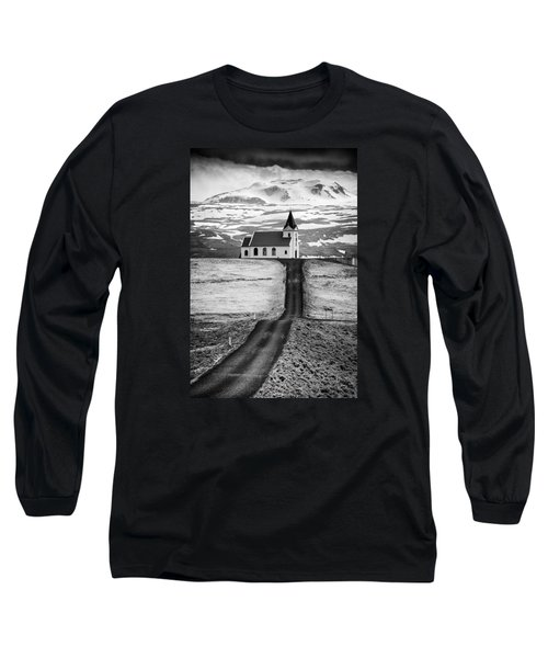 Iceland Ingjaldsholl Church And Mountains Black And White Long Sleeve T-Shirt