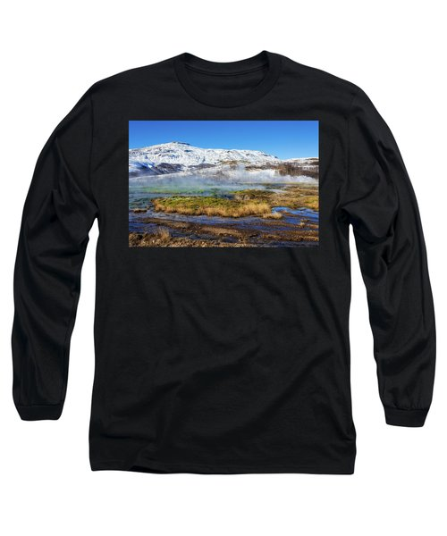 Iceland Landscape Geothermal Area Haukadalur Long Sleeve T-Shirt by Matthias Hauser