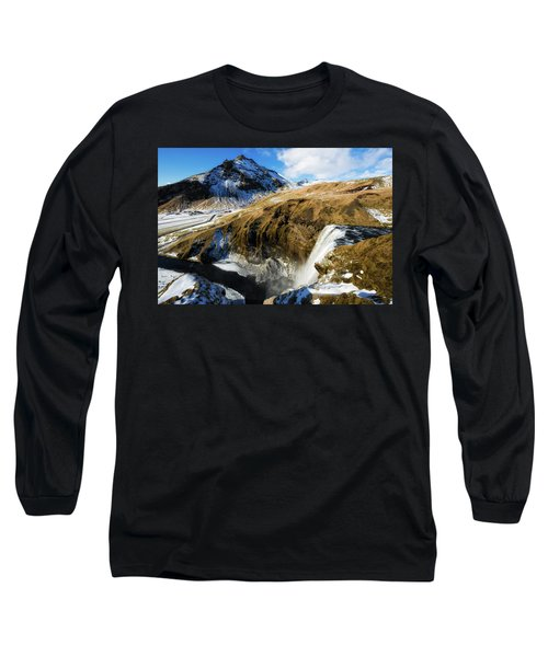 Iceland Landscape With Skogafoss Waterfall Long Sleeve T-Shirt by Matthias Hauser