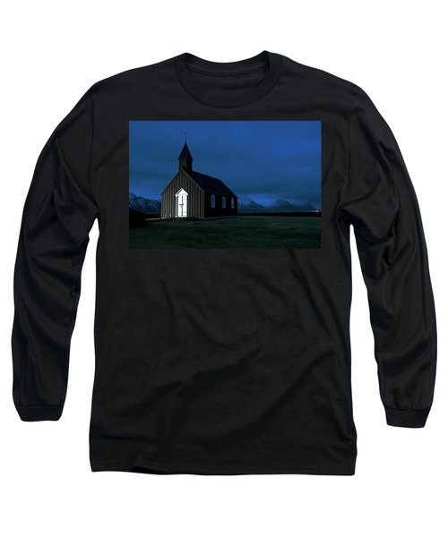 Long Sleeve T-Shirt featuring the photograph Icelandic Church At Night by Dubi Roman