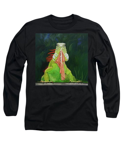 Long Sleeve T-Shirt featuring the painting Iguana Dude by Karen Zuk Rosenblatt