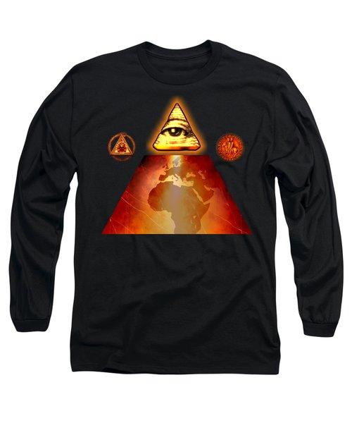 Illuminati World By Pierre Blanchard Long Sleeve T-Shirt by Pierre Blanchard