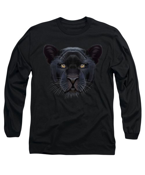 Illustrated Portrait Of Black Panther.  Long Sleeve T-Shirt by Altay Savrukov