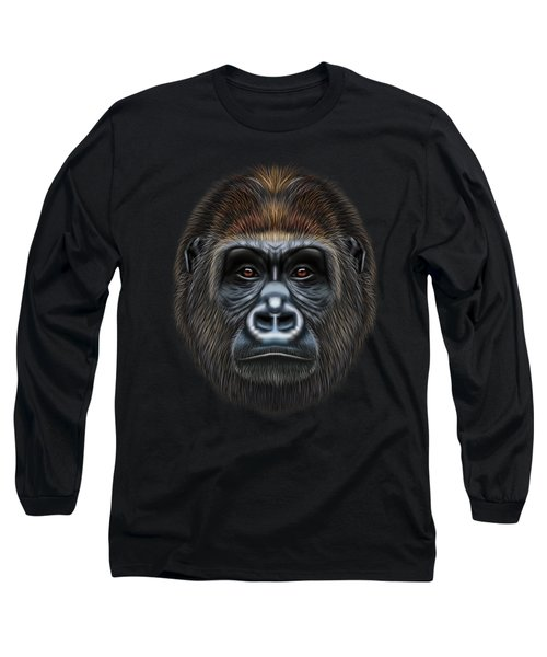 Illustrated Portrait Of Gorilla Male. Long Sleeve T-Shirt by Altay Savrukov