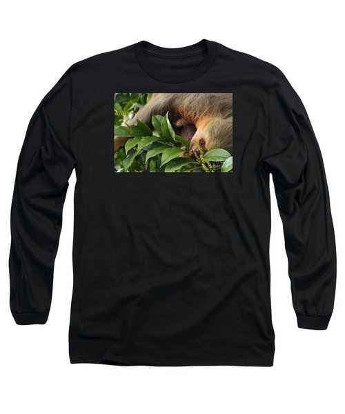 Long Sleeve T-Shirt featuring the photograph I'm Trying To Eat Here by Pamela Blizzard