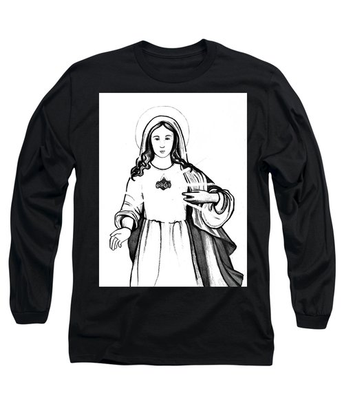 Long Sleeve T-Shirt featuring the drawing Immaculate Heart Of Mary by Mary Ellen Frazee