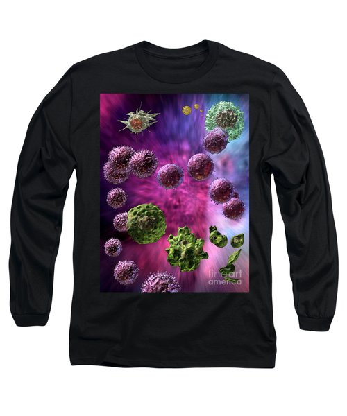 Long Sleeve T-Shirt featuring the digital art Immune Response Cytotoxic 4 by Russell Kightley