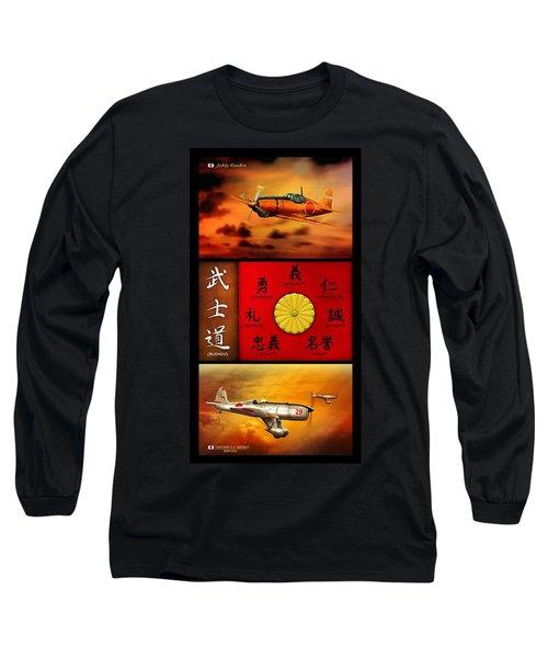 Imperial Japan Aircraft With Bushido Code Long Sleeve T-Shirt