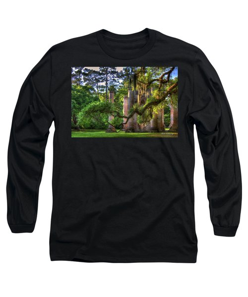 In The Light Spanish Moss Old Sheldon Church Ruins Long Sleeve T-Shirt