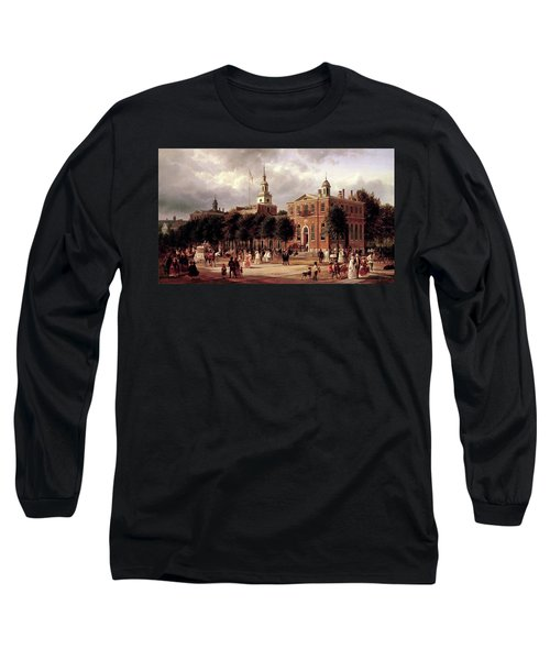 Long Sleeve T-Shirt featuring the painting Independence Hall by Ferdinand Richardt