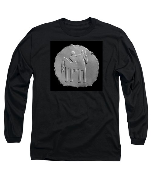 Long Sleeve T-Shirt featuring the relief Indian Art - Horse Rider by Suhas Tavkar