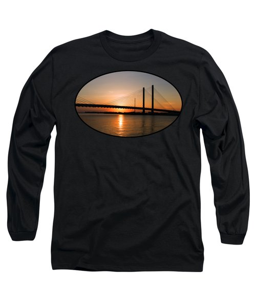 Indian River Bridge Sunset Reflections Long Sleeve T-Shirt