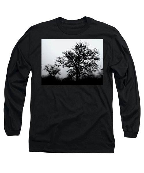 Ink And Photo Study Of Live Oaks Long Sleeve T-Shirt