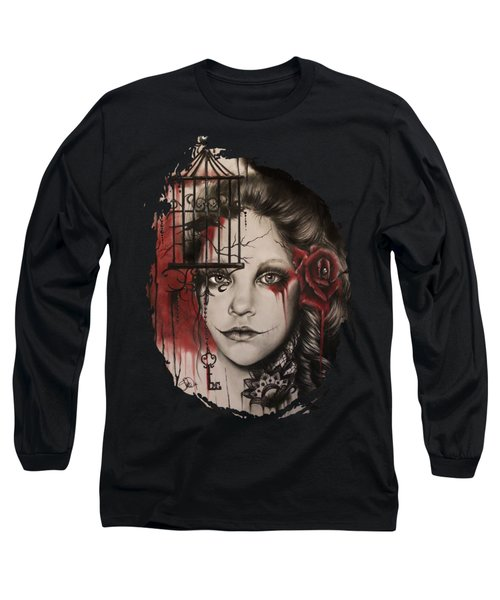 Long Sleeve T-Shirt featuring the mixed media Inner Demons  by Sheena Pike
