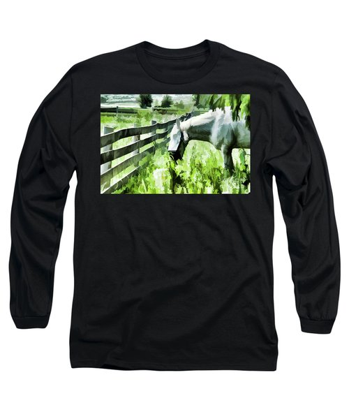 Long Sleeve T-Shirt featuring the digital art Iowa Farm Pasture And White Horse by Wilma Birdwell
