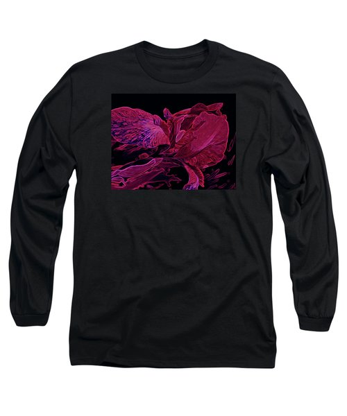Iris Deep Red Glow Long Sleeve T-Shirt by Lynda Lehmann