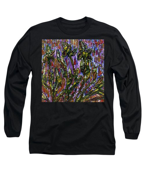 Long Sleeve T-Shirt featuring the painting Irises Carousel by Vadim Levin