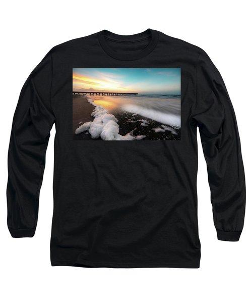 Isle Of Palms Pier Sunrise And Sea Foam Long Sleeve T-Shirt